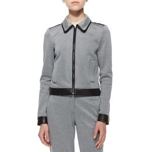 NWOT Theory Balvino Knit Jacket with Leather Trim